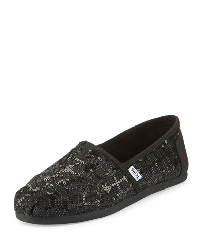 Alpargata Sequined Slip-On Flat, Black