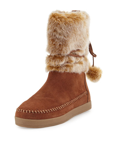 Nepal Faux-Fur Bootie, Brown Rawhide