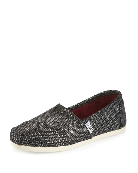 TOMS Alpargata Metallic Burlap Slip-On Flat, Black