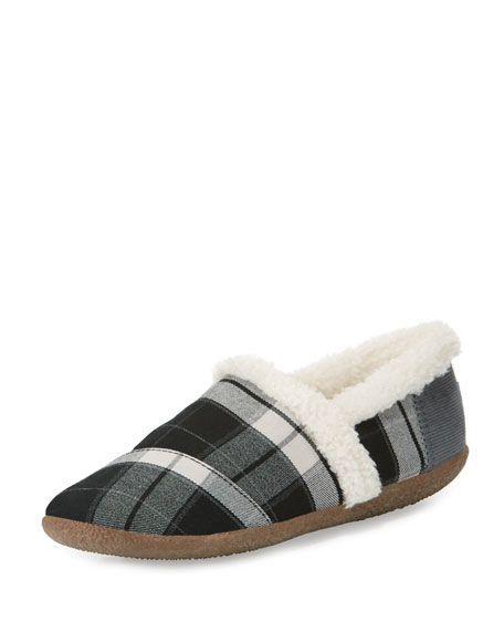 Plaid Faux-Shearling Slipper, Black/White