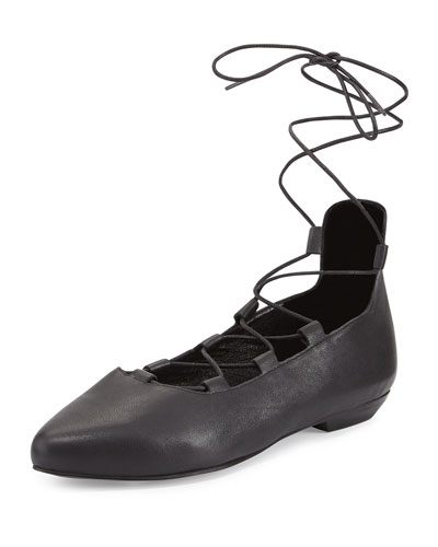 Loop Pointed-Toe Lace-Up Flat, Black