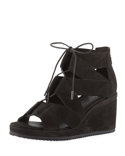 Dibs Lace-Up Wedge Sandal, Black