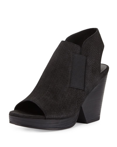 Plus Woven-Suede Open-Toe Bootie, Black