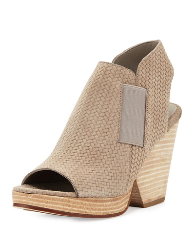 Plus Woven-Suede Open-Toe Bootie, Earth
