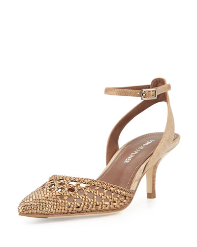 Fresia Woven Pointed-Toe Pump, Light Bronze