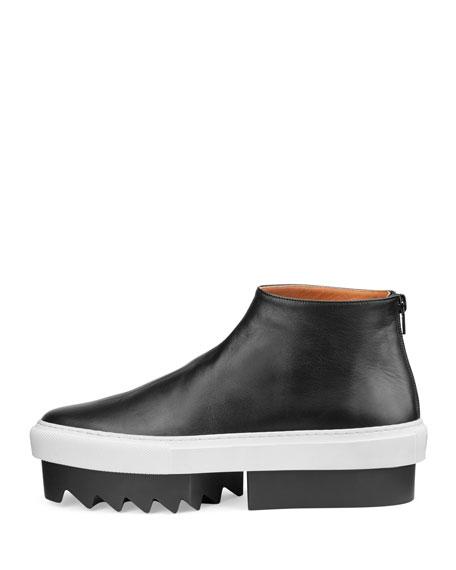 Leather High-Top Platform Skate Sneaker, Black