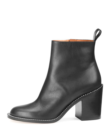 Ann Chain-Trimmed Leather Ankle Boot, Black