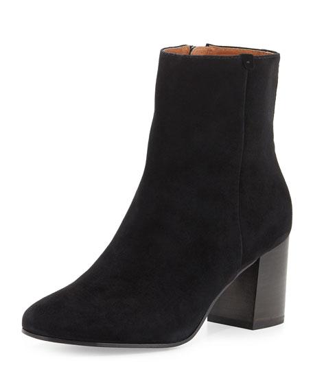 Jodi Suede Block-Heel Bootie, Black
