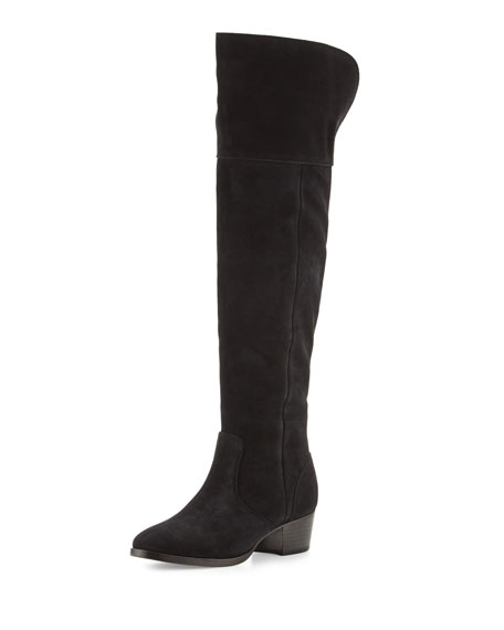 Clara Suede Over-The-Knee Boot, Black