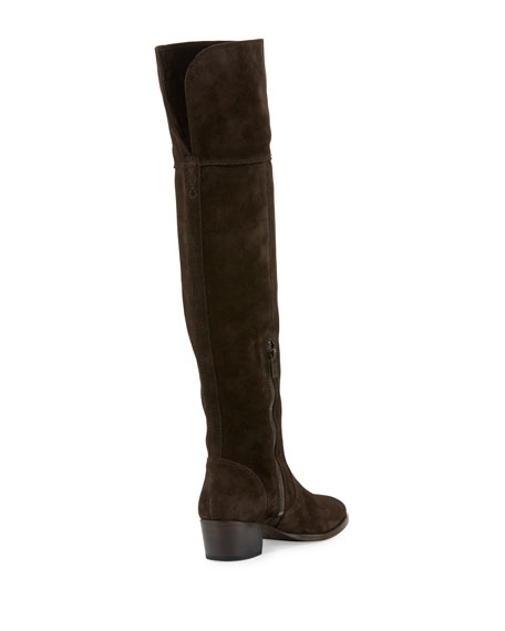 Clara Suede Over-The-Knee Boot, Chocolate