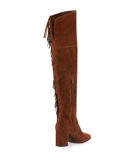 Jodi Fringe Suede Over-The-Knee Boot, Wood