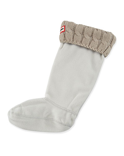 Six-Stitch Cable Boot Socks, Greige