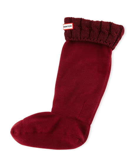 Hunter Boot Six-Stitch Cable Boot Socks, Dulse Bordeaux
