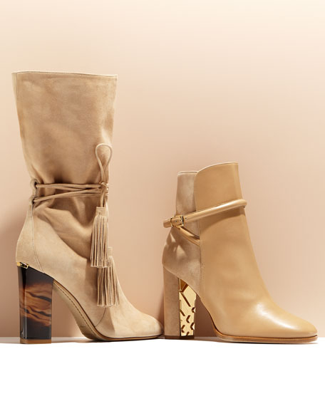Shola Leather & Suede Ankle Boot, Light Nude