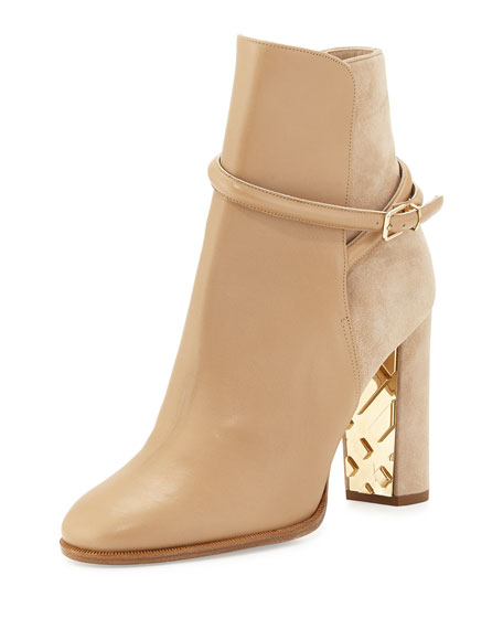 Burberry Shola Leather & Suede Ankle Boot, Light