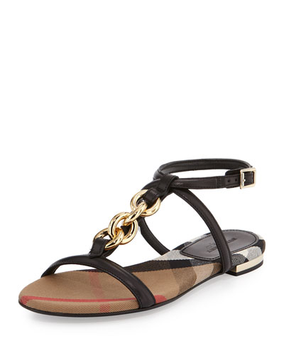 Reasonson Leather T-Strap Sandal, Black