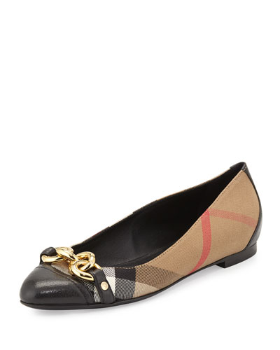 Shipleyson Check Ballerina Flat, Black