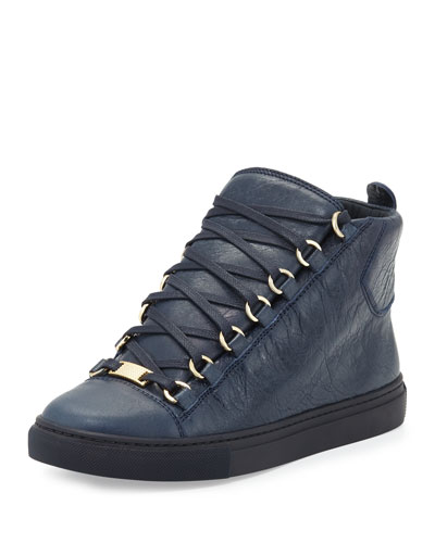 Arena Leather High-Top Sneaker, Navy
