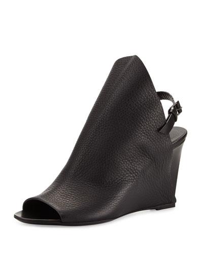 Open-Toe Slingback Wedge Sandal, Black