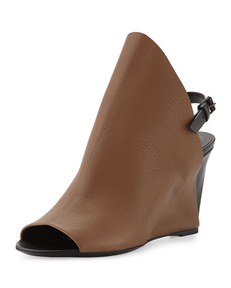 Open-Toe Slingback Wedge Sandal, Brown