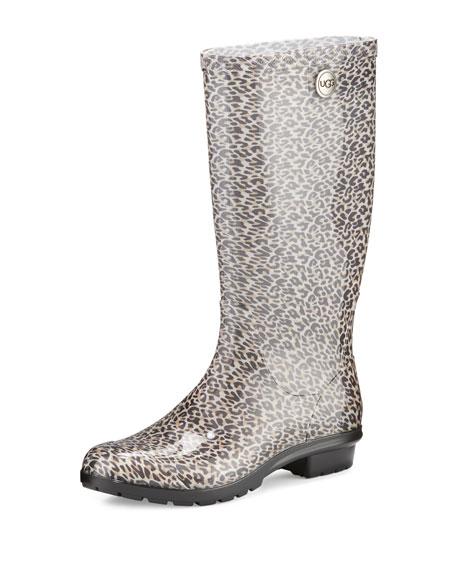 UGG Shaye Leopard-Print Rain Boot, Black