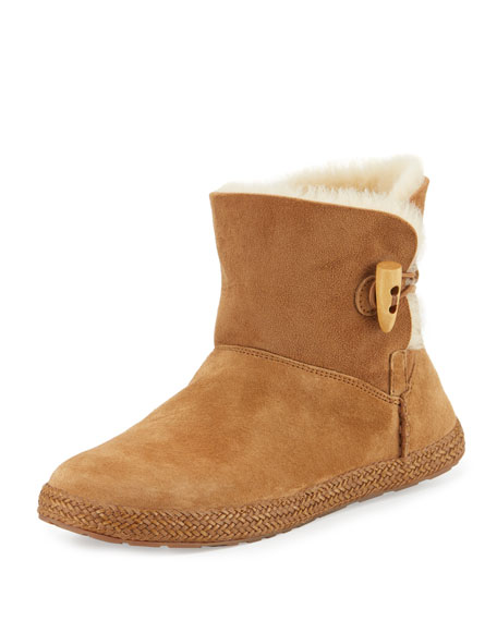 Garnet Shearling Toggle Bootie, Chestnut