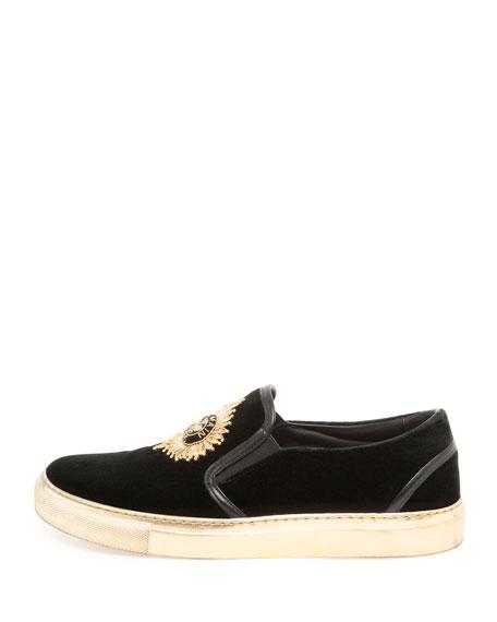 Queen Velvet Skate Sneaker, Noir