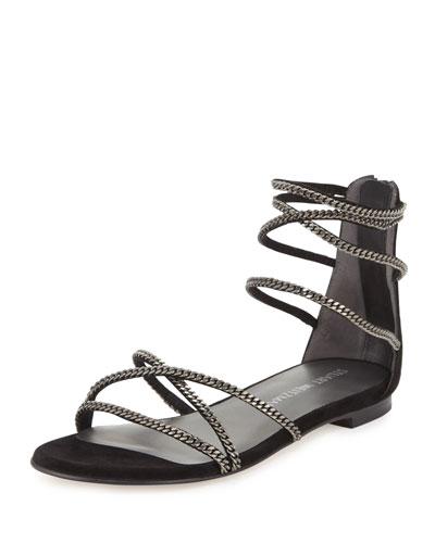 Chaindown Strappy Flat Sandal, Black