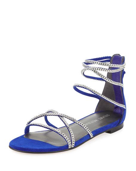Stuart Weitzman Chaindown Strappy Flat Sandal, Electric Blue
