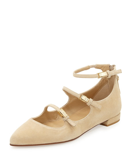 Stuart Weitzman Flippy Three-Strap Mary Jane Flat, Buff