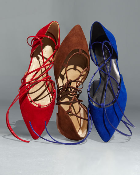 Gilligan Lace-Up d'Orsay Flat, Electric Blue