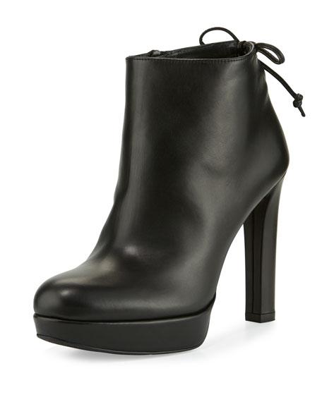 Stuart Weitzman Grandiose Leather Platform Bootie, Black