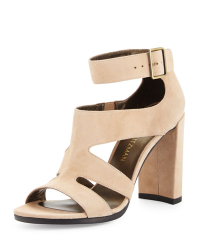 Hiroller Suede Strappy Sandal, Cashew