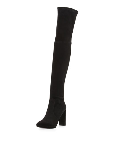 Skyscraper Suede Over-The-Knee Boot, Black