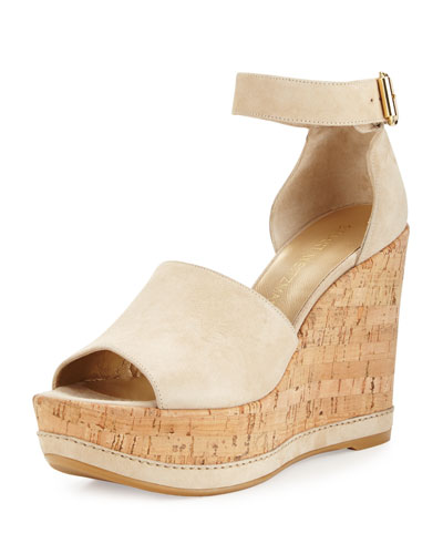Sohogal Suede Wedge Sandal, Buff