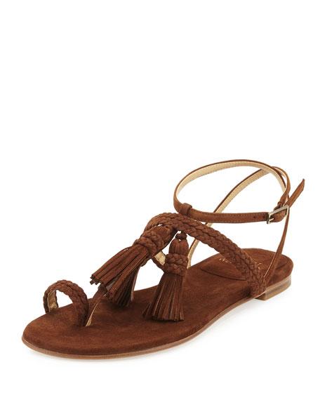 Stuart Weitzman Tasselites Suede Tassel Flat Thong Sandal,