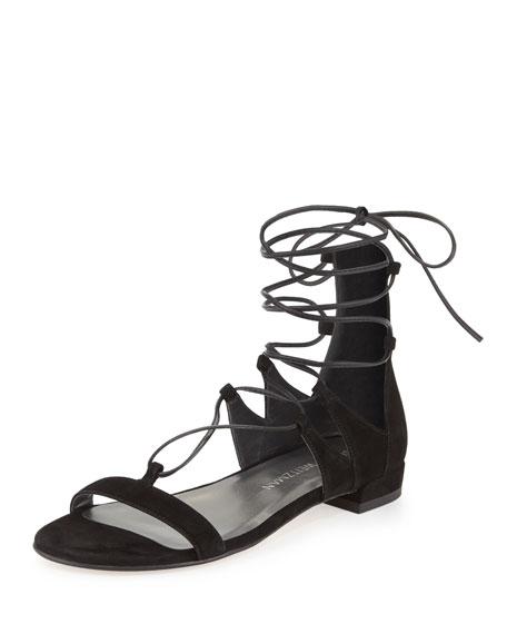 Stuart WeitzmanTieup Suede Flat Gladiator Sandal, Black