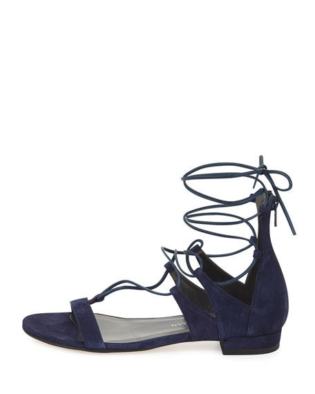 Tieup Suede Flat Gladiator Sandal, Baltic Blue