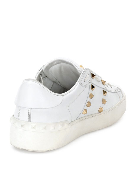 Rockstud Untitled Leather Sneaker, Bianco
