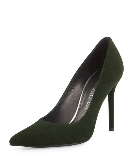 Stuart Weitzman Nouveau Suede Pointed-Toe Pump, Forest