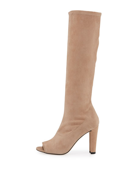 Peking Peep-Toe Knee Boot, Cashew
