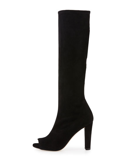 Peking Peep-Toe Knee Boot, Black