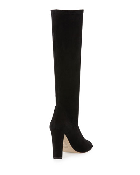 Stuart Weitzman Peking Peep-Toe Knee Boot, Black