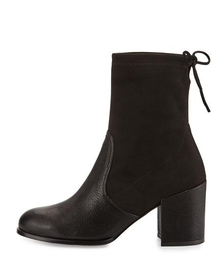 Stuart Weitzman Shorty Suede/Leather Chunky-Heel Bootie, Black
