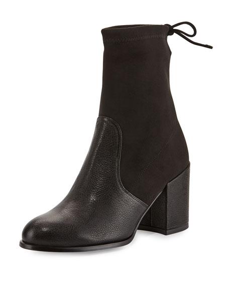 Stuart WeitzmanShorty Suede/Leather Chunky-Heel Bootie, Black