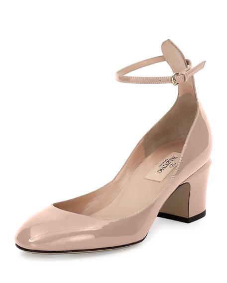 ValentinoTango Patent Ankle-Wrap Pump, Nude
