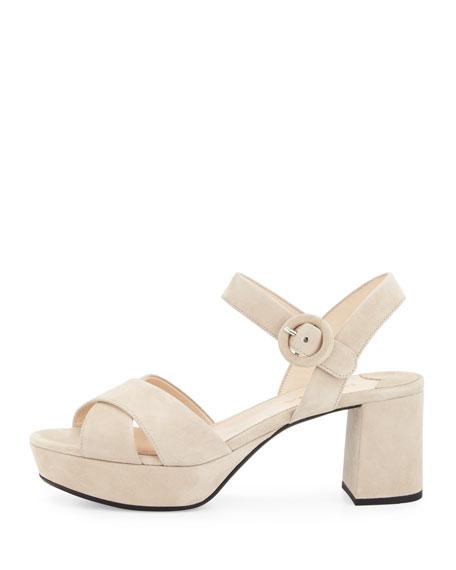 Crisscross Suede Platform Sandal, Quarzo
