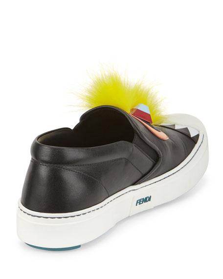 Bug Fur & Snakeskin Skate Sneaker, Black/Yellow