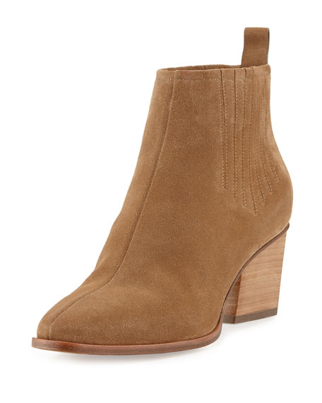 Skyscraper Suede 65mm Bootie, Tan