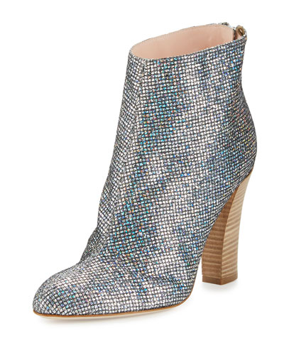 Minnie Sequined Almond-Toe Bootie, Scintillate Silver